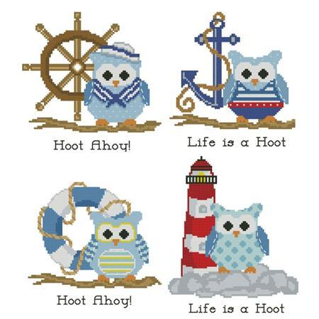 Primary image for Hooties Nautical Collection owl cross stitch chart Pinoy Stitch