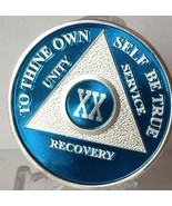 Blue Silver Plated 20 Year AA Chip Alcoholics Anonymous Medallion Coin T... - £14.95 GBP