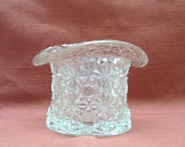 Vintage Fenton Pressed Glass Button & Daisy Pattern Top Hat Toothpick Ho... - $9.50