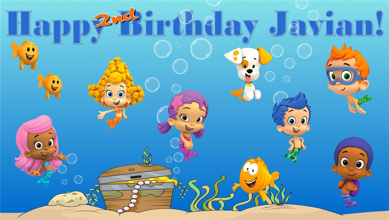 Primary image for Bubble Guppies -Custom- Personalized Vinyl Birthday Banner Decoration -Blue Text