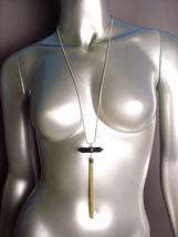 "CHIC Black Onyx Quartz Crystal Gold Tassel Pendant 34"" Snake Chain Necklace  - $19.99"