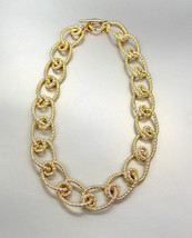 CHUNKY Triple Gold Plated Textured Intertwined Knot Cable Links Chain Ne... - €18,73 EUR