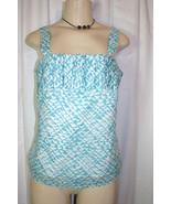 MERONA Sz S Turquoise Blue White Print Pleated Accent Sleeveless Tank Top - $9.78