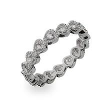 Size 8 Sterling Silver Stackable CZ Bezel Heart Eternity Ring - $35.00