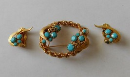 Vintage 1950s Gold Filled Turquoise Brooch Clip Earrings Set - $28.00