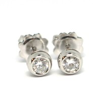 WHITE GOLD EARRINGS 750 18K, DIAMONDS, 0.35 CARAT, MOUNT ROUND BUSH image 1