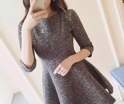 Long Sleeved Sweet Princess Skirt A Line Cotton Tutu waist dress Tee Dre... - $29.50