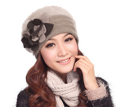 Women Floral Winter Wool Rabbit Fur Ski Warm Hat Beanie Cap Beret Cloche... - ₨2,055.04 INR