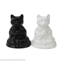 Ceramic Black White Buddha Cat Magnetic Salt and Pepper Shaker - $12.86