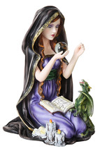 Wican Witch With Small Dragon Crystal Ball Stat... - $46.04
