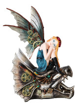 Steampunk Fairy Mechanical Dragon Head Statue Flight Figurine Gears - $52.97