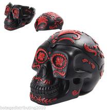 Ashtray Dia de Los Muertos Black  DOD Skull Head Sugar Red Trinket Box - $20.99