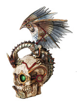 Steampunk Dragon Perching On Head Skull Mechanical Steampunk Collectible - $46.75