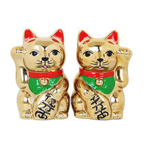 Golden Cats Maneki Neko Ceramic Salt and Pepper Shaker Set Kitchen Decor - $12.86