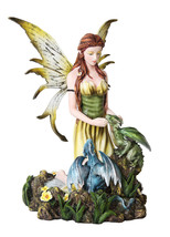 Faery With Dragonlings Statue Spring Fairy Flower Yellow Figurine Home D... - $56.25