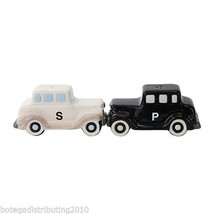 Antique Car Black White Ceramic Magnetic Salt and Pepper Shaker Set Carr... - $12.86