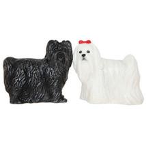 Maltese Dogs Ceramic Magnetic Salt and Pepper Shaker Set Black White Pups - $13.35