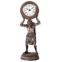Atlas Desk Clock Bearing The Globe Sculpture Greek God Titan Bronze Office - $54.20