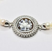 925 silver bangle with pearls freshwater Cameo Cameo Cubic Zirconium image 4