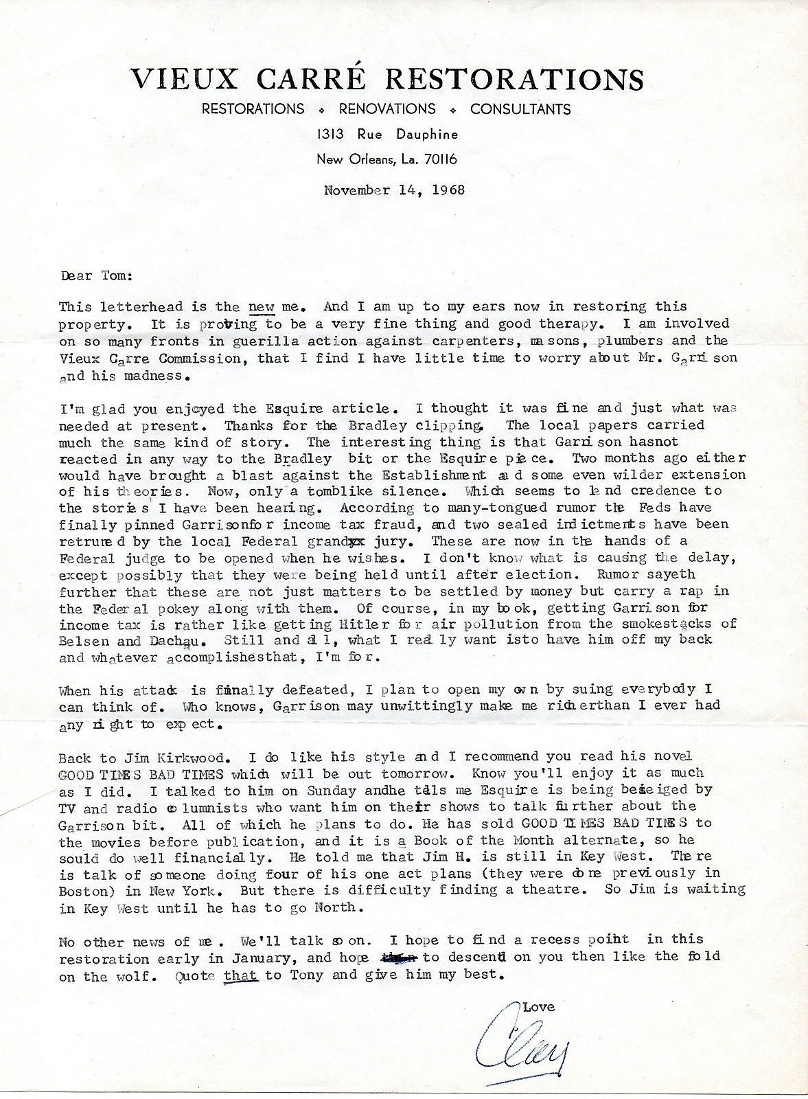 CLAY SHAW Signed letter-1968- writing about Jim Garrison - JFK assassination (?)