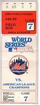 1986 WORLD SERIES GAME 7 STUB - New York Mets Shea Stadium - $272.25