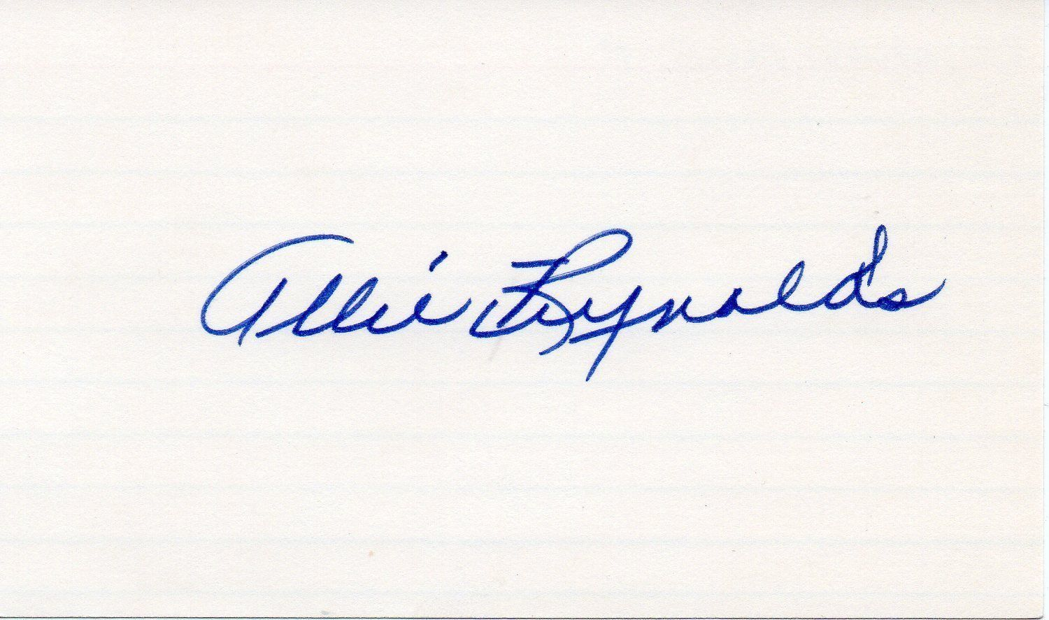 ALLIE REYNOLDS Signed index card, nice autograph, New York Yankees