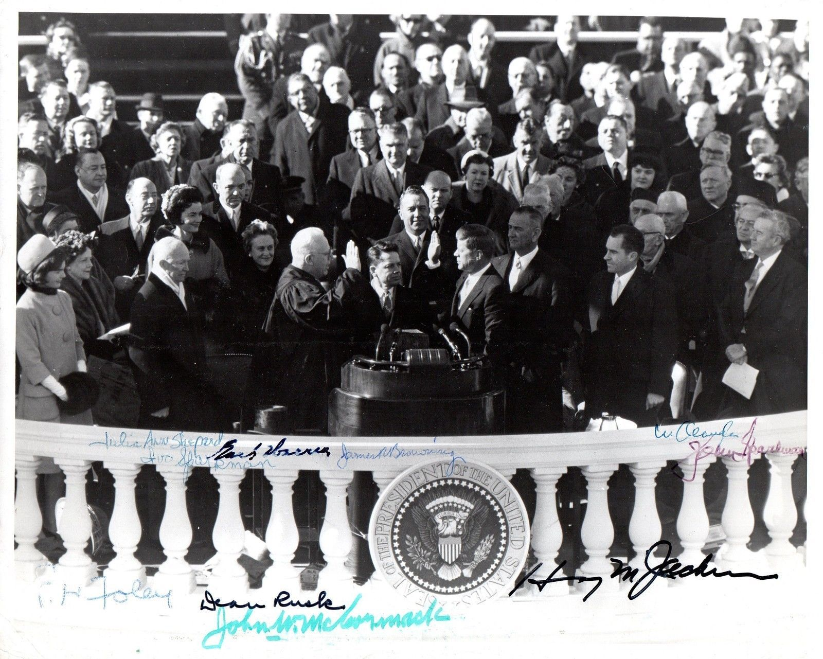 JOHN F. KENNEDY Inauguration Photo signed by Earl Warren, Wm. Douglas, Rusk +++