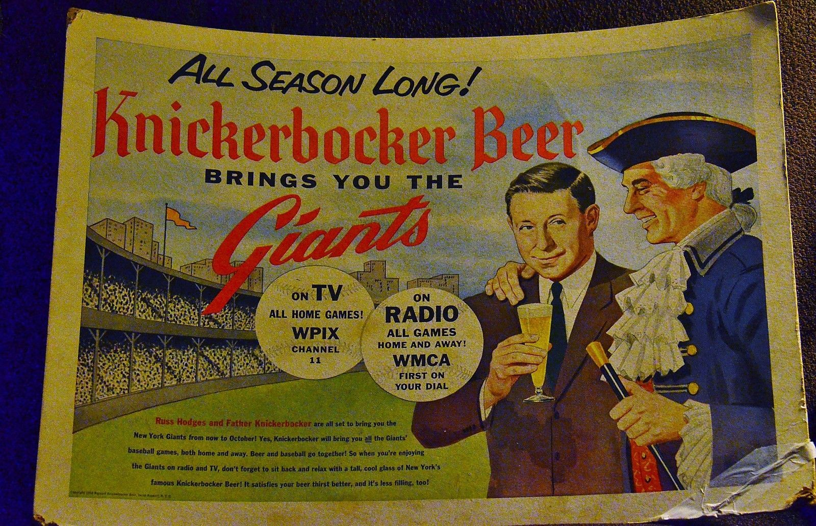 ORIGINAL ADVERTISING SIGN - New York Giants, Knickerbocker Beer, Russ Hodges