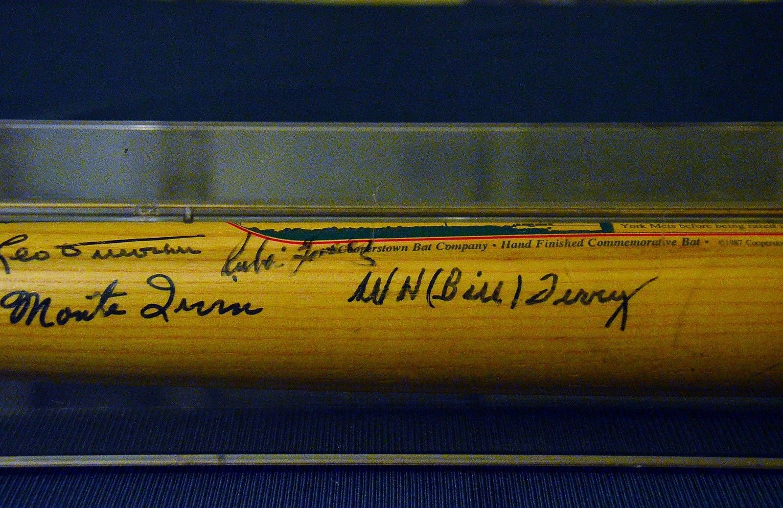 POLO GROUNDS BAT with 11 autographs - Mays, Irvin, Terry, Wilhelm, Durocher ++++
