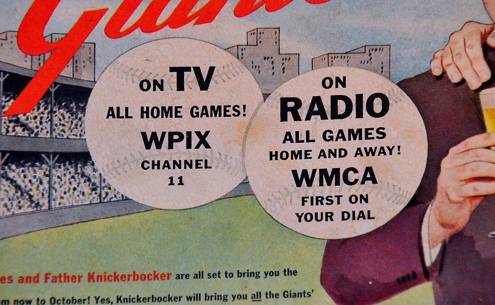 ORIGINAL ADVERTISING SIGN - New York Giants, Knickerbocker Beer, Russ Hodges