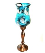 Flambro Metal Candle Holder Turquoise Glass Hurricane Globe 15 inches Tall - $43.56