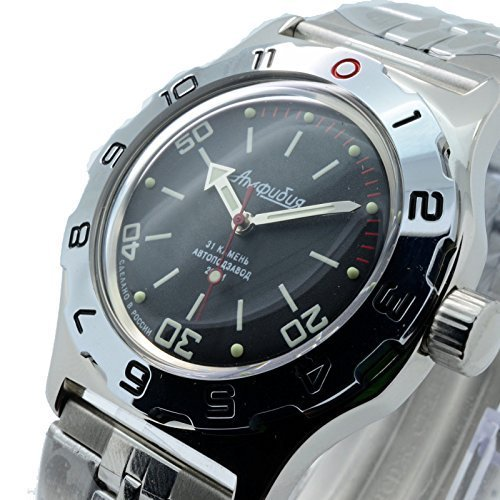 Vostok Amphibian New 100820 Russian Automatic Divers Wrist Watch 200m Auto Black