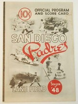 1948 San Diego Padres Scorecard v Oakland Acorns Lane Field Unscored - $64.35