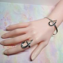 925 Sterling Silver Modernist Teardrop Ring & Cuff Bangle Bracelet Set 16 Grams - $39.60