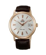 Orient ER24002W Men's Bambino Automatic White Dial Rose Gold Tone Leather Str... - $231.83