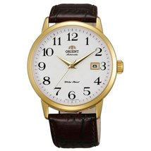 Orient ER27005W Men's Symphony White Dial Gold Tone Leather Strap Mechan... - $164.90