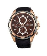 Orient Men's Black Leather Band Rose Gold Plated Case Quartz Brown Dial Analo... - $206.67