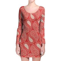 Paisley In Red Longsleeve Bodycon Dress - $36.99+