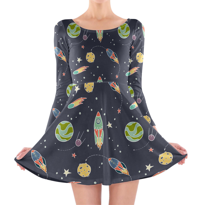 Space Flight Longsleeve Skater Dress for sale  USA