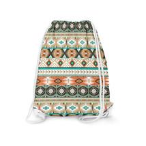 Earthy Aztec Tribal Geometric Drawstring Bag - $24.99+
