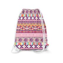 Candy Rainbow Aztec Tribal Geometric Drawstring Bag - $24.99+