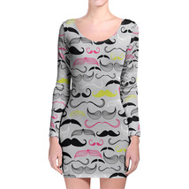 Hipster Neon Mustaches Longsleeve Bodycon Dress - $36.99+