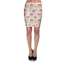 Pink Roses with Green Leaves Bodycon Skirt - $24.99+