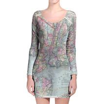 Antique New York City Map Longsleeve Bodycon Dress - $36.99+
