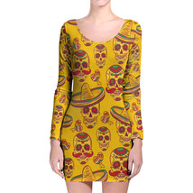 Mexican Sugar Skulls in Gold Longsleeve Bodycon Dress - $36.99+
