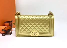 AUTHENTIC CHANEL METALLIC GOLD QUILTED PATENT LEATHER MEDIUM BOY FLAP BAG GHW