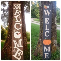 Reversible seasonal welcome sign Fall/Winter Pumpkins and snowman - $45.00
