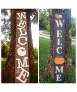 Reversible seasonal welcome sign Fall/Winter Pumpkins and snowman - £34.93 GBP