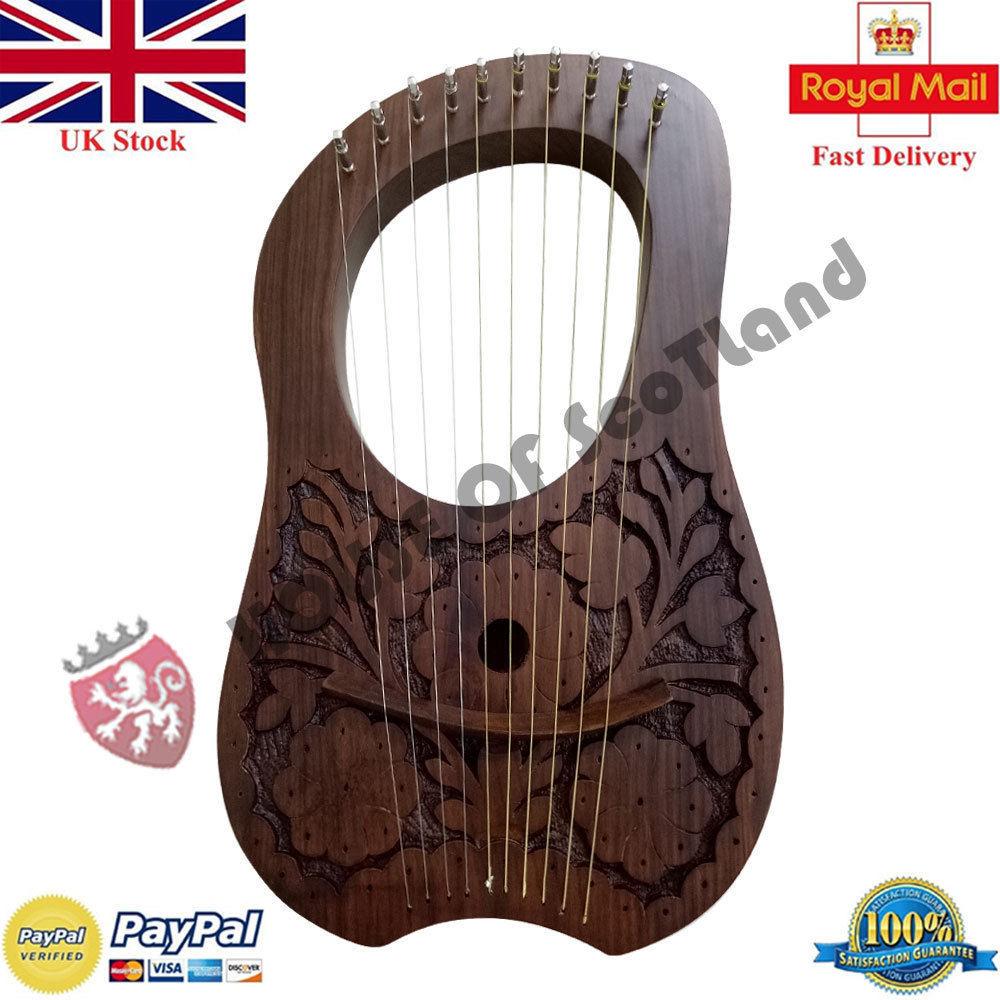 ST Lyra Harp Ten Metal String Instruments Shesham Wood//Lyra Harp Case Key//Harfe