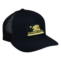 California Republic Trucker Hat by LET'S BE IRIE - Black and Gold, Curve... - $24.00